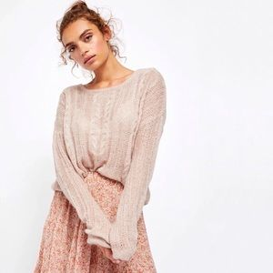 Free People | Tan Angel Soft Cable Knit Sweater